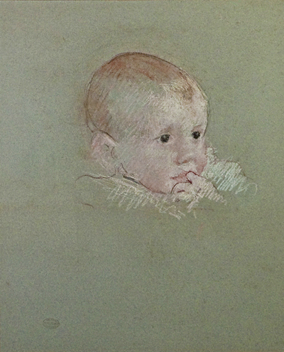 Head of Baby with Finger in Mouth, Mary Cassatt, Matthews Gallery