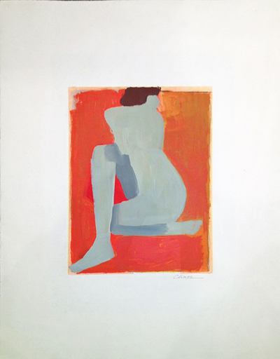 """Untitled Grey Nude on Orange"", Jamie Chase, Matthews Gallery"