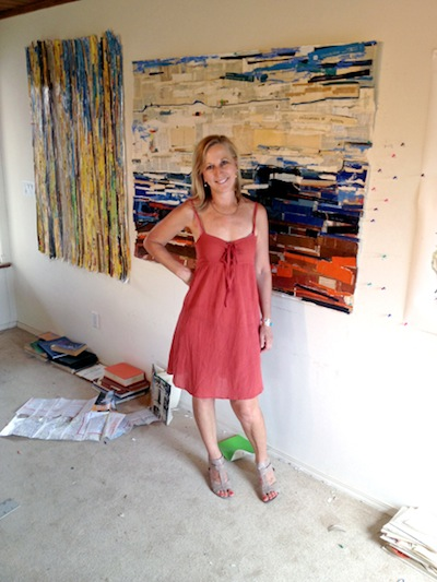 Artist Kate Rivers in her studio - Matthews Gallery