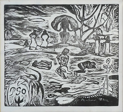 Paul Gauguin- Mahana Atua (Noa Noa woodblock)- Matthews Gallery auction
