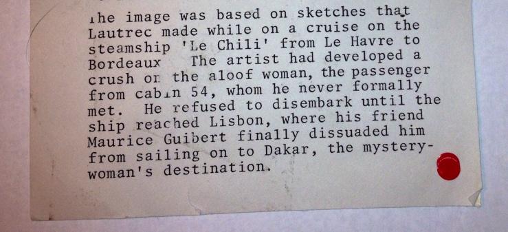 """The story of Henri de Toulouse Lautrec's """"La Passagere du 54""""- Matthews Gallery blog"""