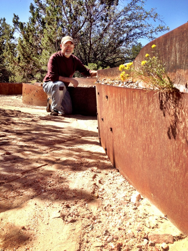 Frank Morbillo with his arroyo earthwork