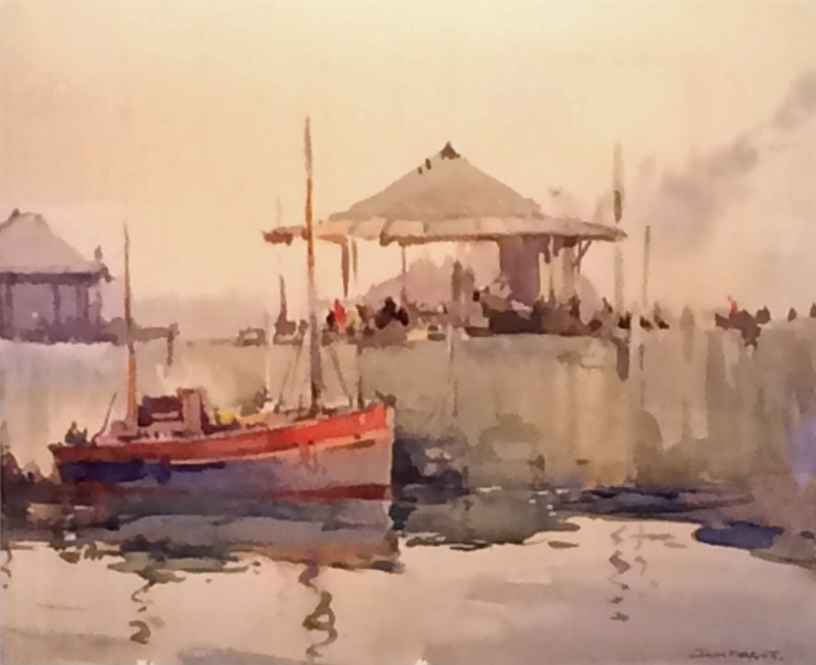 Jack Merriott- Untitled (Boat Dock Scene)- Matthews Art Auctions