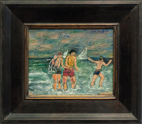 Francesco Spicuzza- Children at Beach- Matthews Art Auctions