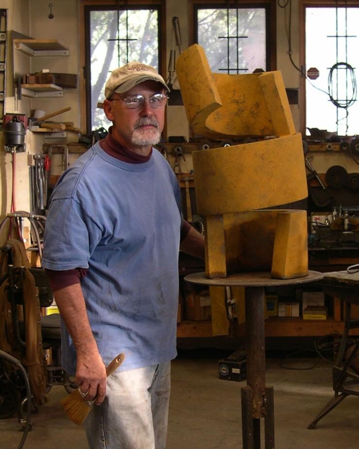 Tesuque Artist Frank Morbillo with his Sculpture Sprung- Matthews Gallery blog