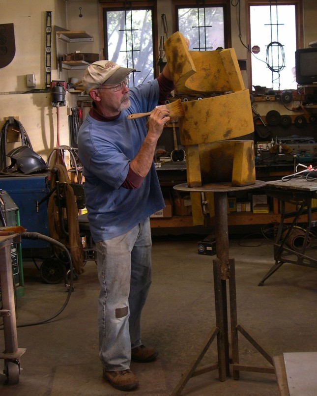 Frank Morbillo Adding a Patina to a Sculpture- Matthews Gallery blog