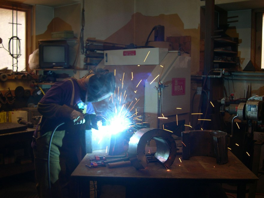 Frank Morbillo Welding a Sculpture- Matthews Gallery blog