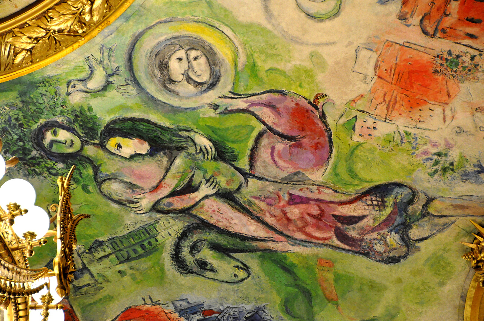 One work of art marc chagall s paris l opera matthews for Describe the mural on the ceiling of the stage