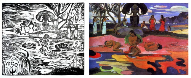 Paul Gauguin- Mahana No Atua- Woodblock print and painting- Matthews Gallery Blog