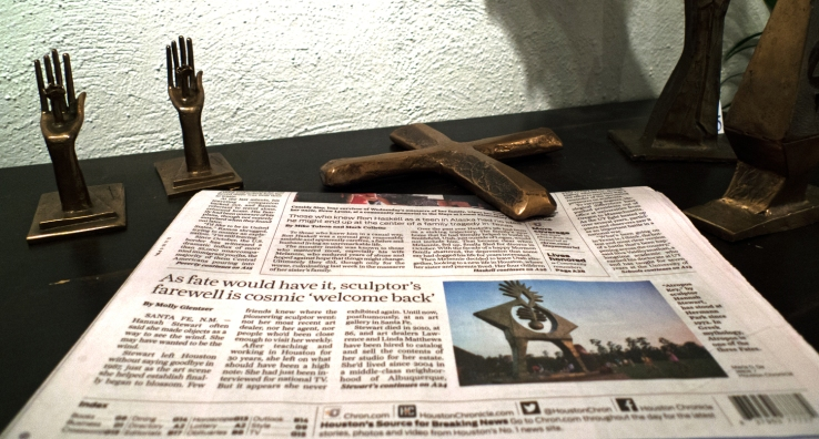 Houston Chronicle's article on Hannah Holliday Stewart among her sculptures- Matthews Gallery