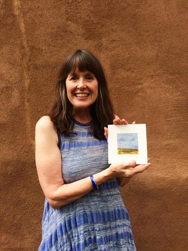 Taos printmaker Barbara Brock with a new miniature monotype- Matthews Gallery blog