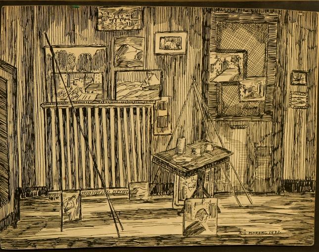 Alfred Morang- The Artist's Studio Portland Maine- Pen and Ink- Matthews Gallery Blog