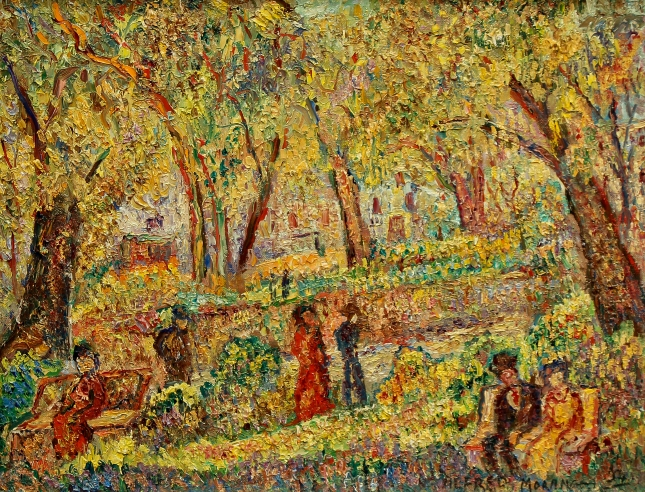 Alfred Morang- Autumn in the Park- Oil on Canvas- Matthews Gallery Blog