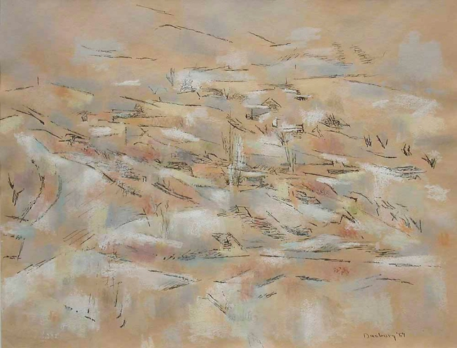 Andrew Dasburg- April Snow- Pastel- Matthews Gallery Blog