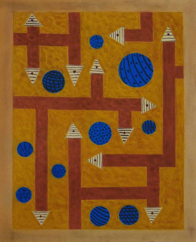 Emil-Bisttram- Orbs and Arrows- Encaustic- Matthews Gallery Blog
