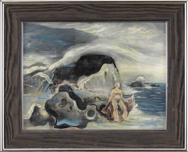 Thomas Benrimo- Nymph of the Sea- oil on board- 1949- Matthews Gallery Blog