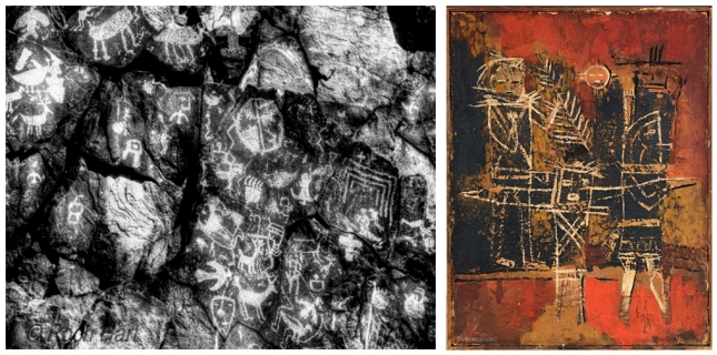 Agnes Sims Artwork with New Mexico Petroglyphs- Matthews Gallery