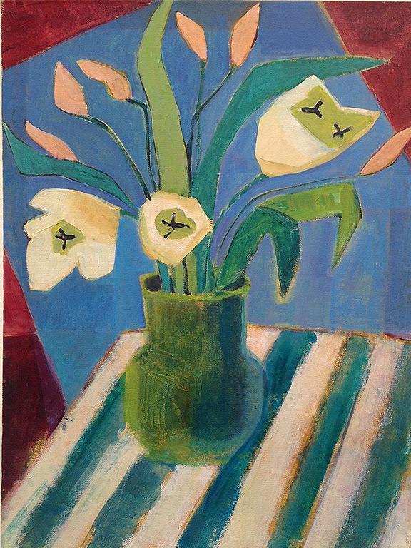 Annie OBrien Gonzales- Green Vase Ivory Tulips- Matthews Gallery blog