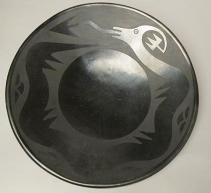 Maria and Julian Martinez- San Ildefonso Blackware Plate circa 1925- Matthews Gallery Blog