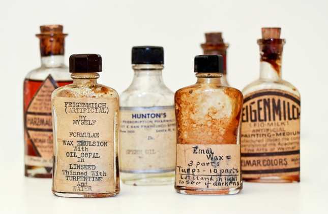Arthur Haddock- Pigment and Oil Bottles- Matthews Gallery Blog