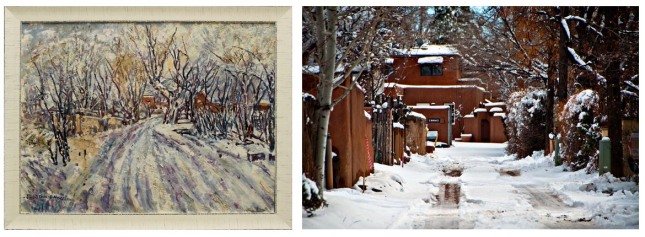 Tommy Macaione- Snowy Santa Fe street- Matthews Gallery Blog