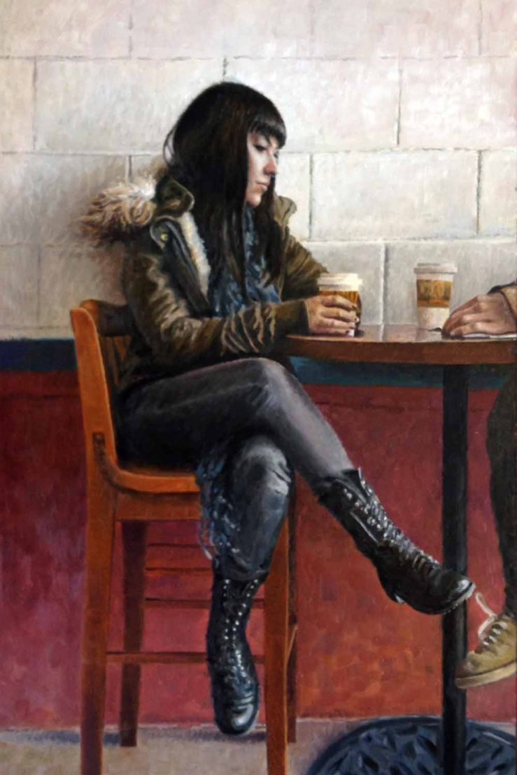 Eric Thompson- Over Lattes- Oil on Panel- Matthews Gallery Blog