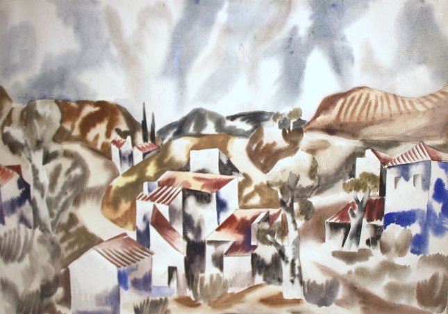 Jan Matulka- Landscape circa 1923- Watercolor on Paper- Matthews Gallery